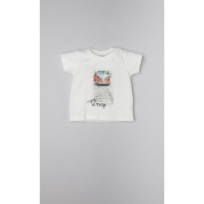 "T-shirt in cotone panna con stampa ""furgoncino Hippie"""