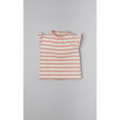 T-shirt a righe color rosa phard e bianco latte