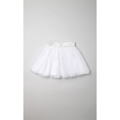 Gonna a ruota in tulle lurex bianco