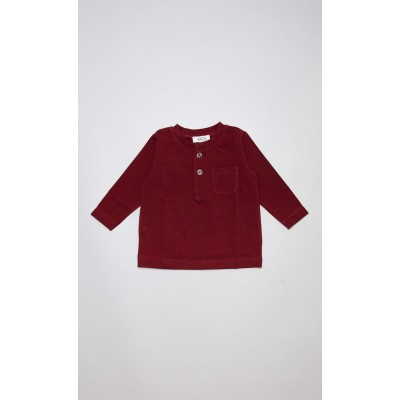 T-shirt in cotone stretch bordeaux