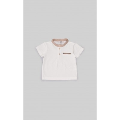 T-shirt in jersey panna rifinito in beige
