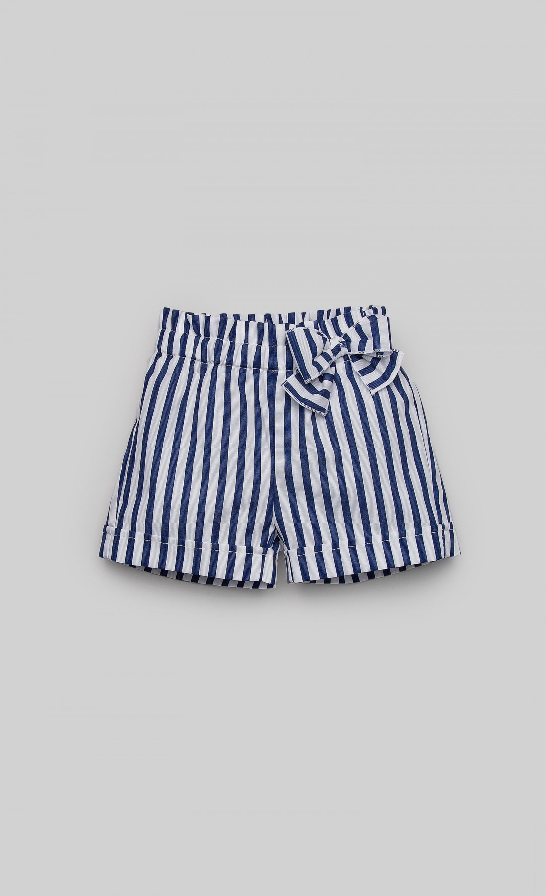 Short trousers in white and blue striped poplin