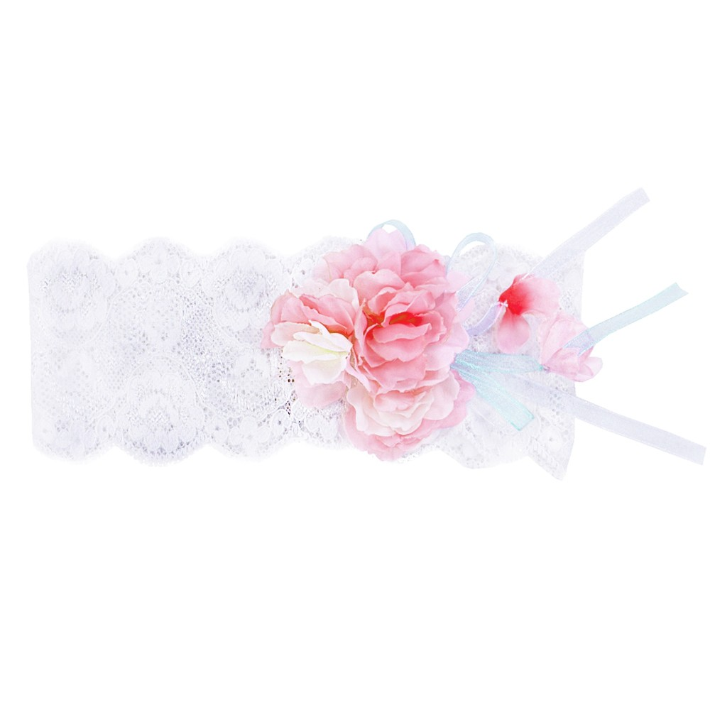 Aletta White Headband With Pink Flowers
