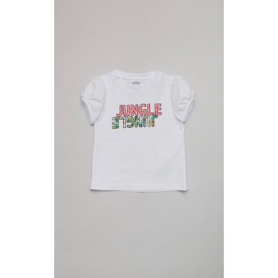 """White jersey t-shirt with """"Jungle"""" print"""