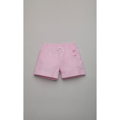White and pink striped short trousers