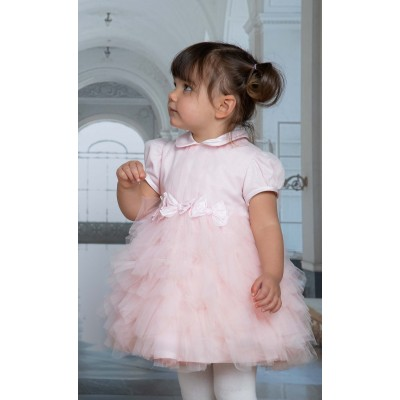 Pink lurex tulle dress with bows