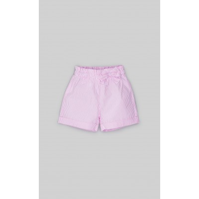 Short trousers in white and pink striped poplin