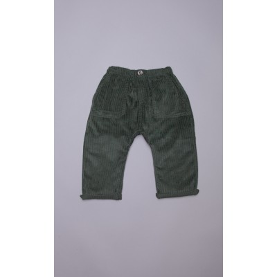 Pantaloni baggy in velluto a coste verde
